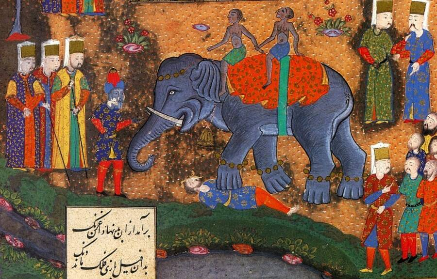 ottoman-painting-of-death-by-elephant